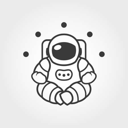 Outline silhouette of astronaut character in space suit sitting in yoga lotus pose - vector illustration Çizim