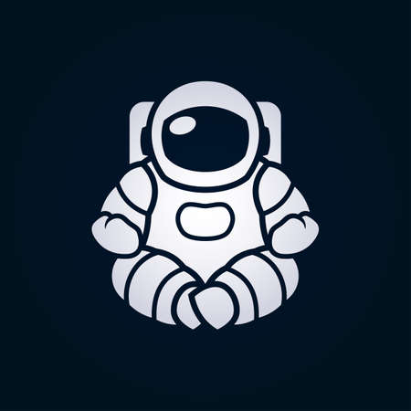Astronaut character in space suit sitting in yoga lotus pose - vector illustration Çizim