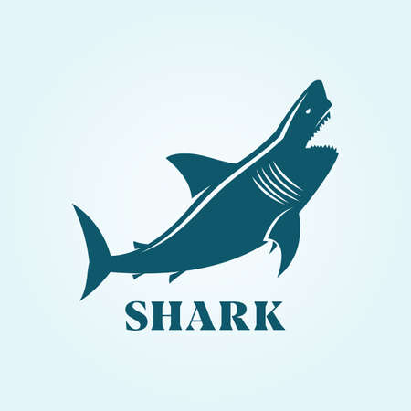 Blue toothy shark character silhouette. Vector icon of shark.