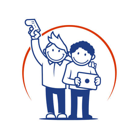 Boys holding game console and tablet - cut out cartoon illustration