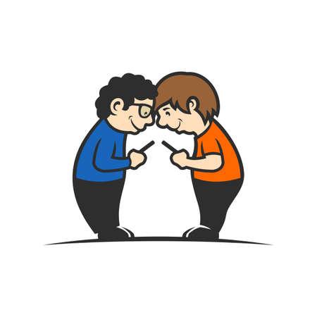 Boys holding cell phones in hands - cartoon vector illustration Illustration