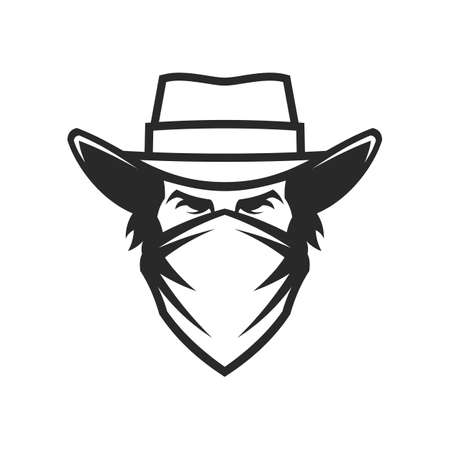 Cowboy head in hat and bandana - cut out vector icon