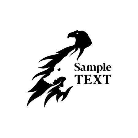 Eagle and wolf silhouette combined in negative space style - vector icon Stok Fotoğraf - 120113459