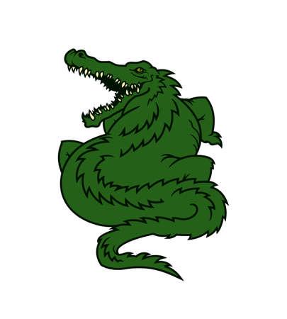 Alligator character. Fat toothy gator mascot - cartoon vector illustration