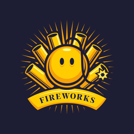 Fireworks, firecrackers and smiling bomb with wick - cartoon vector emblem