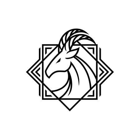 Elegant horned deer goat head with decorative elements - stylized outline emblem