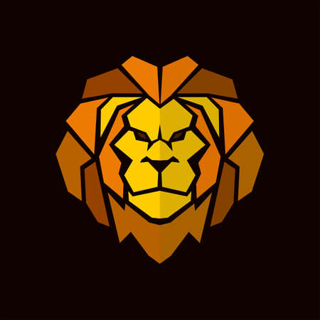 Lion head with mane - vector icon in abstract mosaic style