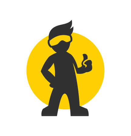 Man in glasses silhouette with thumb up vector icon