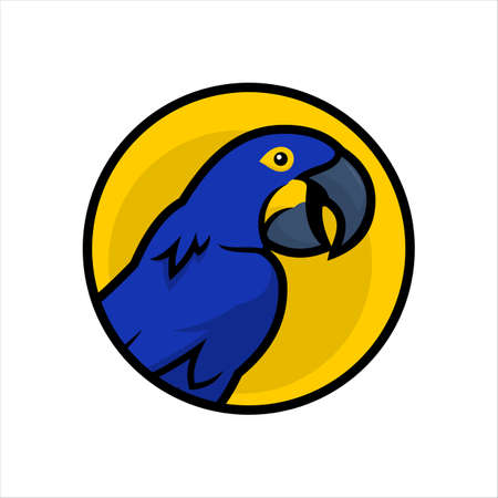 Blue Macaw parrot cartoon character icon in yellow circle