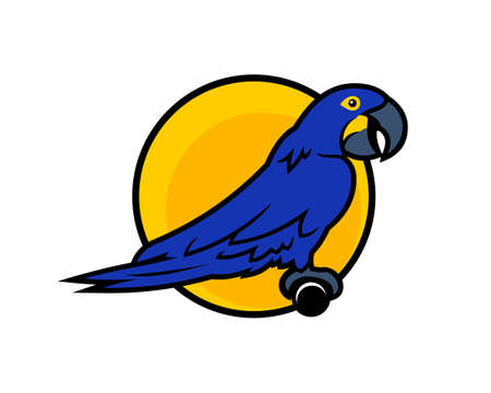 Blue Macaw parrot cartoon character sitting on the perch on yellow background