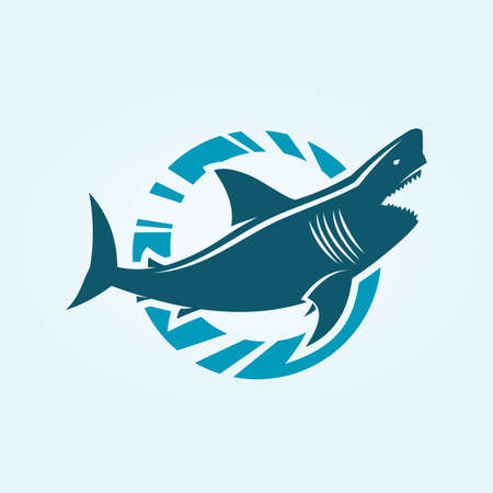Shark silhouette character in circle. Toothy shark icon