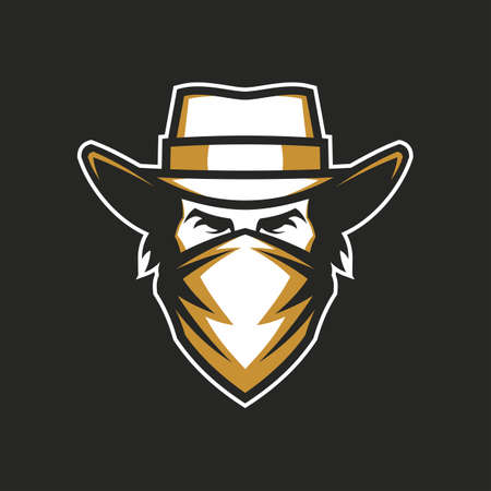 Cowboy head in hat and bandana - vector icon for a dark background