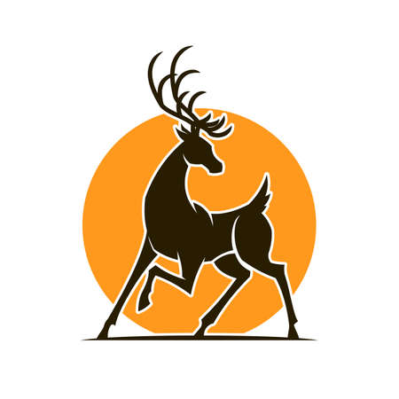 Elegant Deer silhouette on background of stylized sun - cut out elk icon