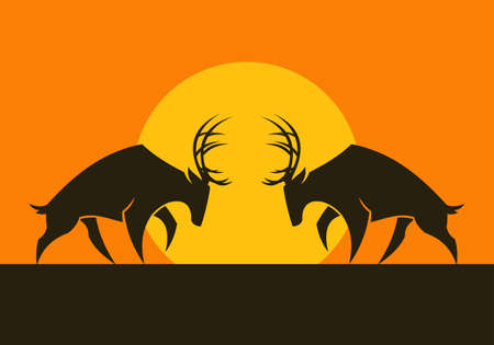Cut out vector silhouette of horned deers standing opposite each other on the sun background