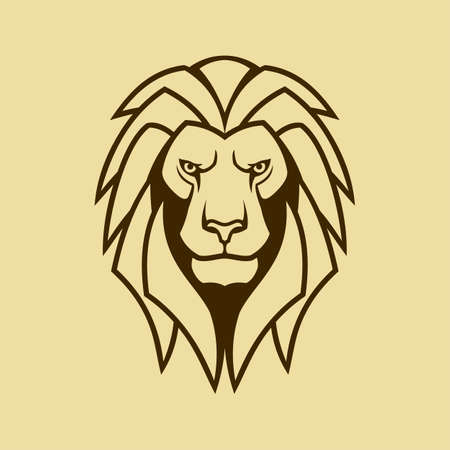 Lion head with mane outline silhouette. Cut out vector icon of the  lion.