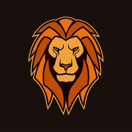 Lion head with red mane vector icon. Stylized lion character, mascot of the majestic king of animals. Ilustracja