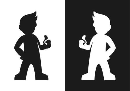 Black and white man silhouette with thumb up vector icon Çizim