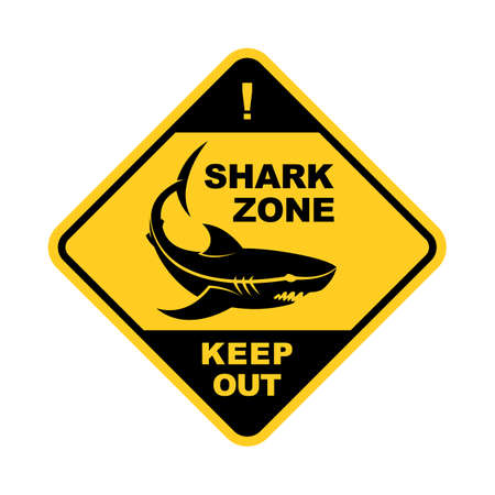 Shark zone warning square sign - shark silhouette vector icon with changeable text