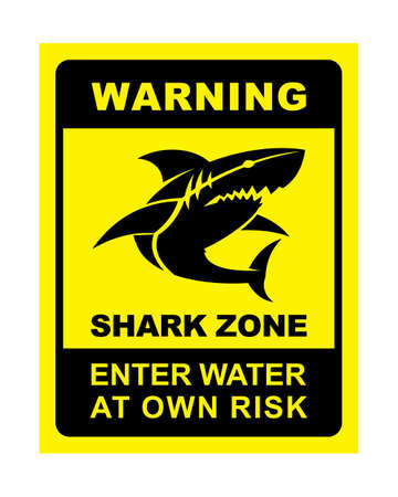 Shark zone warning sign - shark silhouette vector icon with changeable text
