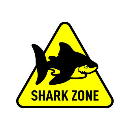 Shark zone warning sign. Vector shark silhouette on triangle plate. Çizim