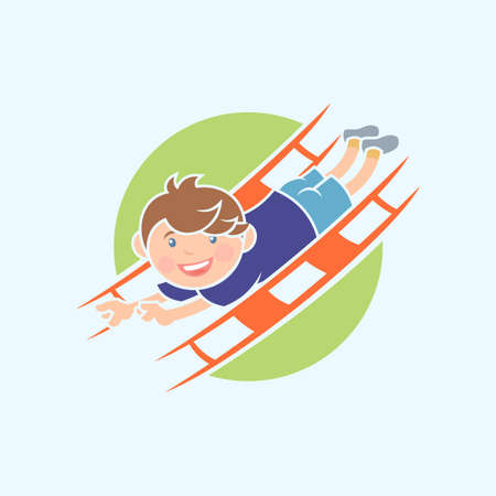 Cartoon character of a boy that having fun on slide in playground Çizim