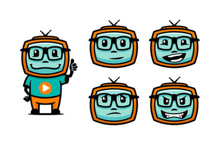Cartoon TV characters in glasses with various facial emotions - vector media symbols