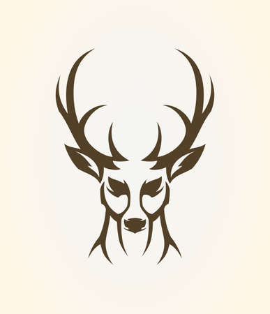 Deer head outline silhouette. Stylized elk - front view vector icon. Çizim