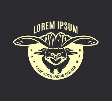 Flying owl silhouette. Eagle-owl with spread wings - vector emblem with changeable text. Çizim