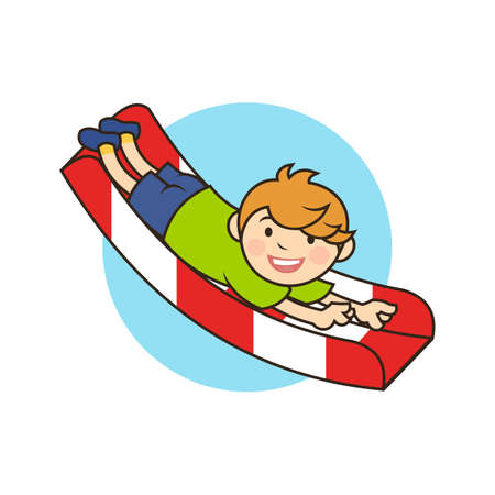 Boy kid cartoon character is having fun on a childrens slide Ilustracja