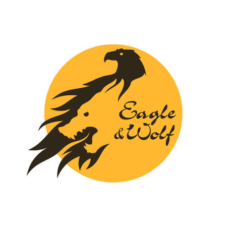 Combined eagle and wolf silhouette - cut out vector icon in negative space style with changeable text