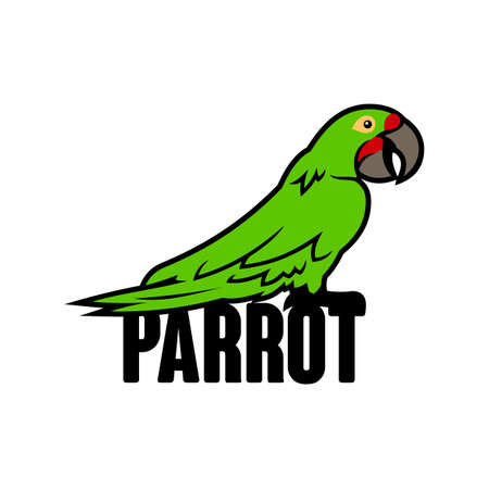 Parrot cartoon character. Green macaw tropical bird - vector illustration with changeable text.