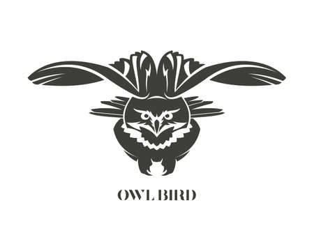 Flying owl silhouette. Eagle-owl with spread wings - cut out vector icon.