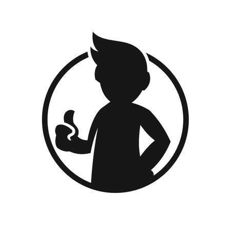 Man showing thumb up sign. Approving gesture with thumb up - cut out vector silhouette. Illusztráció