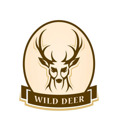 Deer head outline silhouette - stylized vector emblem with changeable text