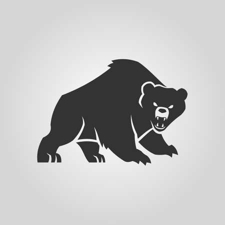 Bear silhouette. Angry bear with open mouth.