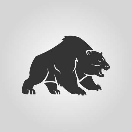 Bear silhouette. Growling angry bear vector icon.