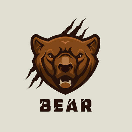Bear head. Stylized grizzly bear vector mascot. Çizim