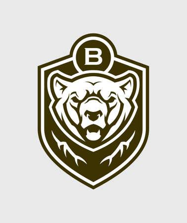 Bear head silhouette. Grizzly bear vector emblem. Ilustração