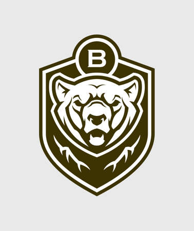 Bear head silhouette. Grizzly bear vector emblem. Illustration