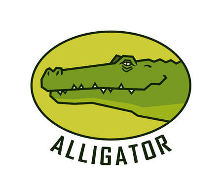 Alligator head. Happy crocodile face vector emblem