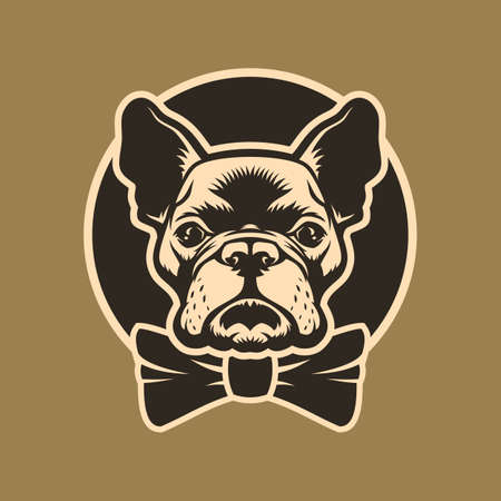 French bulldog head with bow-tie in circle Çizim