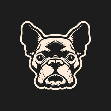 French bulldog head outline cut out silhouette