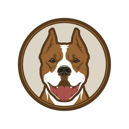 Pitbull boxer dog head mascot in circle Illustration