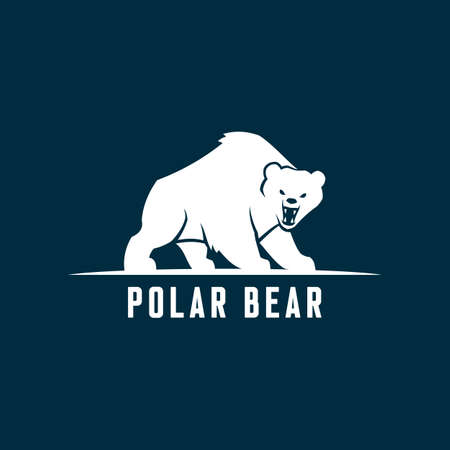 Bear silhouette. Polar bear cut out icon.
