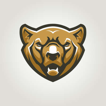 Bear head. Angry grizzly bear character mascot. Ilustracja