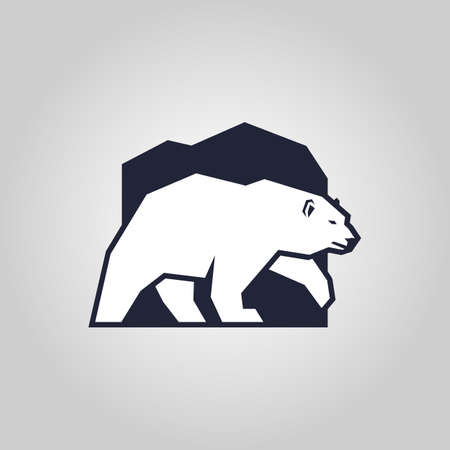 White bear. Stylized polar bear outline silhouette - vector icon