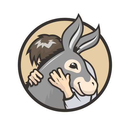 Donkey healthy hugs. Man hugs a cute donkey - vector illustration Çizim