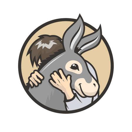Donkey healthy hugs. Man hugs a cute donkey - vector illustration Stock Illustratie