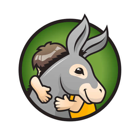 Donkey with kid. Child hugs a cute donkey - vector illustration Çizim