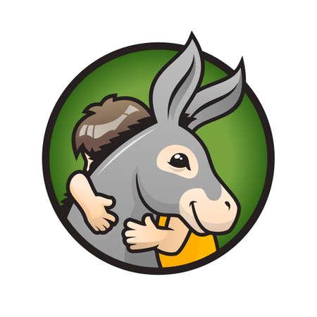 Donkey with kid. Child hugs a cute donkey - vector illustration Ilustração